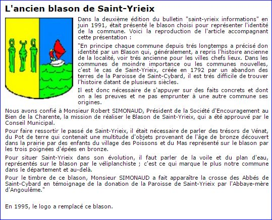 Saint-Yrieix-sur-Charente France  City pictures : Blason sur le site de la commune, 2016.